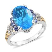 Caribbean Quartz, Tanzanite, Cambodian Zircon 14K YG and Platinum Over Sterling Silver Ring (Size 9.0) TGW 6.90 cts.