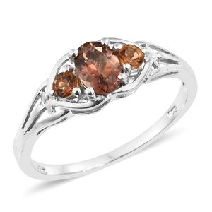 Mocha Scapolite Trilogy Platinum Over Sterling Silver Ring (Size 7.0) TGW 0.84 cts.