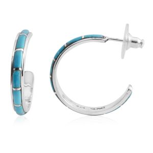 Santa Fe Style Kingman Turquoise Sterling Silver Half Hoop Earrings TGW 1.25 cts.