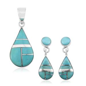 Santa Fe Style Kingman Turquoise Sterling Silver Earrings and Pendant without Chain TGW 8.25 cts.
