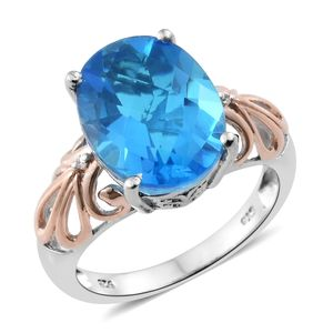 Caribbean Quartz, Cambodian Zircon 14K RG and Platinum Over Sterling Silver Ring (Size 8.0) TGW 9.68 cts.