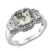 Asscher Cut Green Amethyst, White Topaz Platinum Over Sterling Silver Ring (Size 6.0) TGW 4.55 cts.
