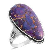 Santa Fe Style Mojave Mojave Purple Turquoise Sterling Silver Ring (Size 11.0) TGW 2.25 cts.