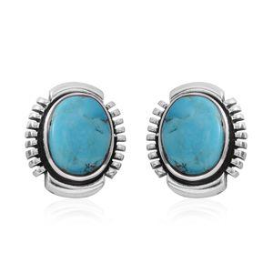 Santa Fe Style Kingman Turquoise Sterling Silver Stud Earrings TGW 6.00 cts.