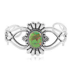 One Time Only Santa Fe Style Mojave Green Turquoise Sterling Silver Cuff (7.00 In) TGW 3.50 cts.