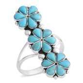 Santa Fe Style Kingman Turquoise Sterling Silver Ring (Size 7.0) TGW 3.50 cts.