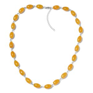 Burmese Yellow Jade Beads Sterling Silver Necklace (18-20 in) TGW 167.45 cts.