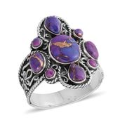 Santa Fe Style Mojave Purple Turquoise Sterling Silver Ring (Size 7.0) TGW 3.50 cts.