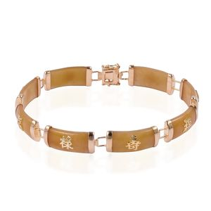 Burmese Yellow Jade 14K RG Over Sterling Silver Bracelet (7.50 In) TGW 50.00 cts.