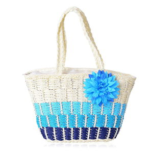 Shades of Blue Straw Woven Tote Bag (16x6x12 in)