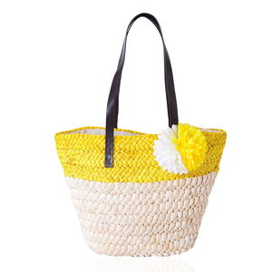 Yellow Straw Flower Beach Tote with Faux Leather Strap (11.5x5x12 in)