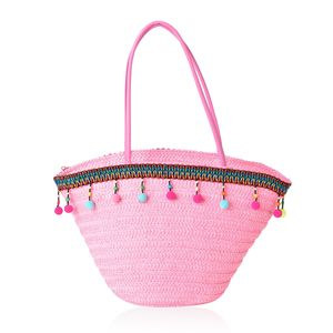 Pink Straw Boat Shape Tote Bag (19.2x5.4x11.2 in)