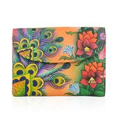 SUKRITI - Orange Floral and Peacock Hand Painted Genuine Leather RFID Bi-Fold Wallet (5.5x4 in)