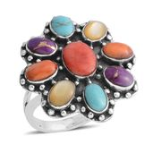 Santa Fe Style Multi Turquoise, Multi Color Spiney Oyster Shell, Yellow Mother of Pearl Sterling Silver Ring (Size 9.0) TGW 2.50 cts.