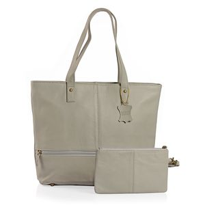 Gray Genuine Leather Tote Bag with Standing Studs (14x3.5x12 in) with RFID Clutch (9x5 in)