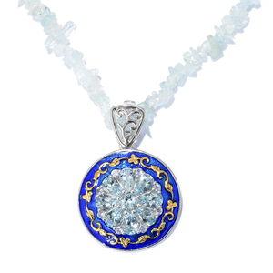 Premium AAA Espirito Santo Aquamarine, Tanzanite Platinum Over Sterling Silver Pendant With Brazilian Aquamarine Chip Bead Necklace (20 in) TGW 109.50 cts.