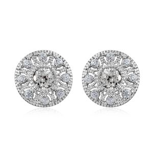 Natural White Zircon Platinum Over Sterling Silver Earrings TGW 2.45 cts.
