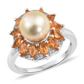 Golden South Sea Pearl (9-9.5 mm), Salamanca Fire Opal, Cambodian Zircon Platinum Over Sterling Silver Ring (Size 9.0) TGW 1.75 cts.
