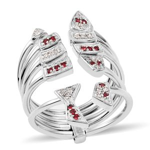 Simulated Diamond Platinum Bond Brass Open Staacked Ring (Size 6.0) Made with SWAROVSKI Ruby and White Crystal TGW 0.28 cts.