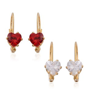 Set of 2 Simulated Red and White Diamond Goldtone Lever Back Heart Earrings TGW 5.00 cts.