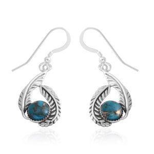 Santa Fe Style Mojave Turquoise Sterling Silver Dangle Earrings TGW 2.50 cts.