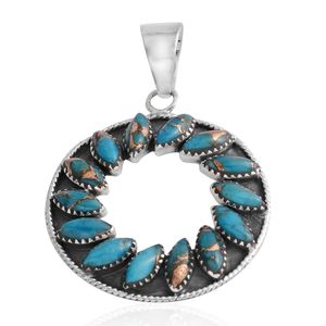Santa Fe Style Mojave Blue Turquoise Sterling Silver Pendant without Chain TGW 3.75 cts.