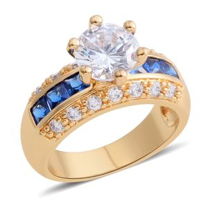 Simulated Diamond, Simulated Blue Sapphire Goldtone Ring (Size 7.5) TGW 6.10 cts.