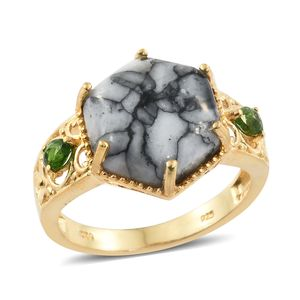 Austrian Pinolith, Russian Diopside 14K YG Over Sterling Silver Ring (Size 9.0) TGW 10.32 cts.