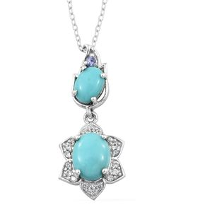 Sonoran Blue Turquoise, Tanzanite, Cambodian Zircon Platinum Over Sterling Silver Pendant With Chain (20 in) TGW 2.42 cts.