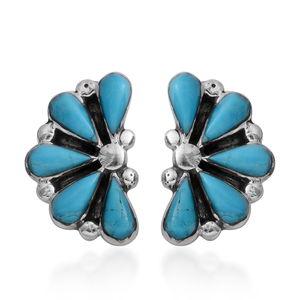 Santa Fe Style Kingman Turquoise Sterling Silver Stud Earrings TGW 3.75 cts.