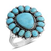 Santa Fe Style Kingman Turquoise Sterling Silver Ring (Size 11.0) TGW 2.25 cts.