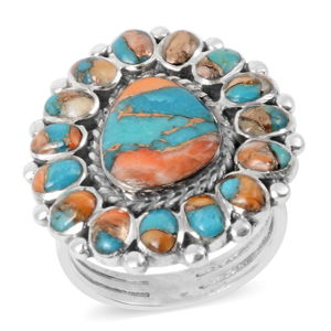 Santa Fe Style Spiny Turquoise Sterling Silver Ring (Size 11.0) TGW 2.28 cts.
