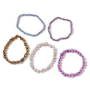 Set of 5 Freshwater Multi Color Pearl, Blue and Purple Beads Bracelets (Stretchable)
