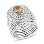 KARIS Collection - Multi Wear Brazilian Citrine Platinum Bond Brass Stacked Ring (Size 8) or Bracelet (7.50In) TGW 1.15 cts.