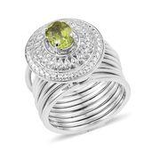 KARIS Collection - Multi Wear Hebei Peridot Platinum Bond Brass Stacked Ring (Size 7) or Bracelet TGW 1.40 cts.