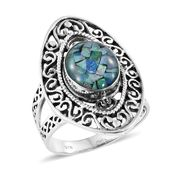 Artisan Crafted Australian Mosaic Opal Sterling Silver Openwork Split Ring (Size 8.0) TGW 2.73 cts.