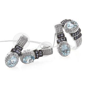 Espirito Santo Aquamarine, Tanzanite, Cambodian Zircon Platinum Over Sterling Silver Earrings, Ring (Size 5) and Pendant With Chain (20 in) TGW 6.18 cts.