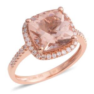 ILIANA 18K RG Marropino Morganite, Diamond Ring (Size 5.0) TDiaWt 0.26 cts, TGW 3.01 cts.