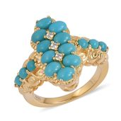 Arizona Sleeping Beauty Turquoise, White Zircon 14K YG Over Sterling Silver Ring (Size 7.0) TGW 1.66 cts.