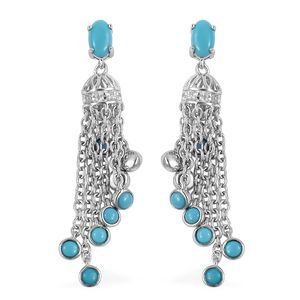 Arizona Sleeping Beauty Turquoise, White Zircon Sterling Silver Tassel Earrings TGW 1.06 cts.