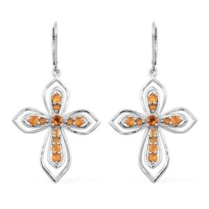 Salamanca Fire Opal Platinum Over Sterling Silver Cross Lever Back Earrings TGW 1.30 cts.