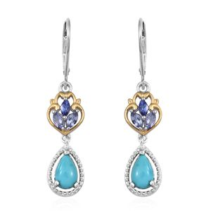 Arizona Sleeping Beauty Turquoise, Tanzanite 14K YG and Platinum Over Sterling Silver Lever Back Drop Earrings TGW 2.05 cts.