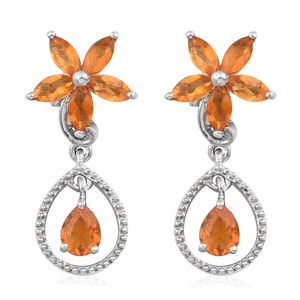 Salamanca Fire Opal Platinum Over Sterling Silver Floral Drop Earrings TGW 1.30 cts.