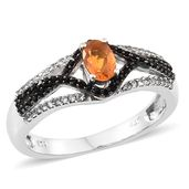 Salamanca Fire Opal, Thai Black Spinel, Cambodian Zircon Platinum Over Sterling Silver Ring (Size 7.0) TGW 0.80 cts.