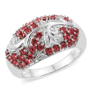Platinum Bond Brass Ring (Size 6.0) Made with SWAROVSKI Indian Pink Crystal