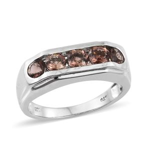 Mocha Scapolite Platinum Over Sterling Silver 5 Stone Men's Ring (Size 12.0) TGW 2.00 cts.
