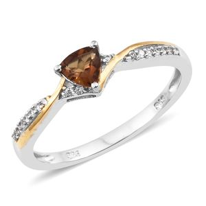 Mocha Scapolite, Cambodian Zircon 14K YG and Platinum Over Sterling Silver Ring (Size 7.0) TGW 0.54 cts.