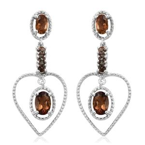 Mocha Scapolite, Jenipapo Andalusite Platinum Over Sterling Silver Heart Dangle Earrings TGW 1.40 cts.