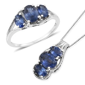 Masoala Sapphire Platinum Over Sterling Silver Ring (Size 8) and Pendant With Chain (20 in) TGW 5.75 cts.