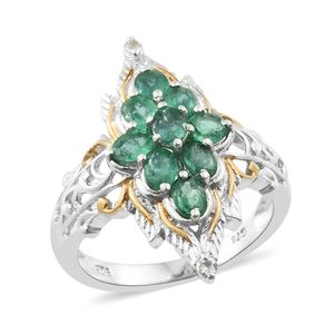 Premium Brazilian Emerald, White Topaz 14K YG and Platinum Over Sterling Silver Cluster Leaf Ring (Size 6.0) TGW 1.56 cts.